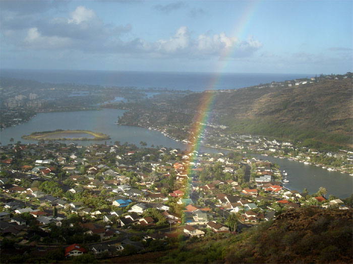 Rainbow over Kuapa pond