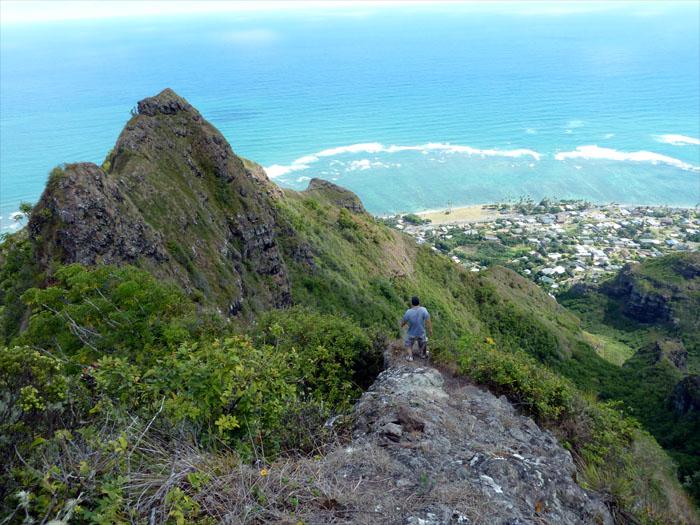 Going down the ridge