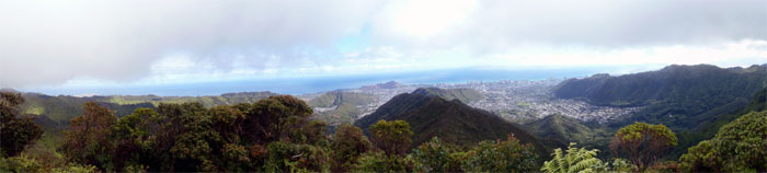Panoramic view of Manoa Valley and Town