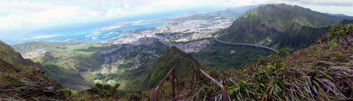 Panoramic view from Haiku Hidden Stairs