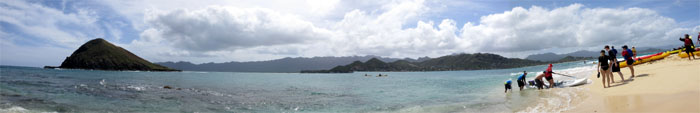 Panoramic view of the Kailua coastline