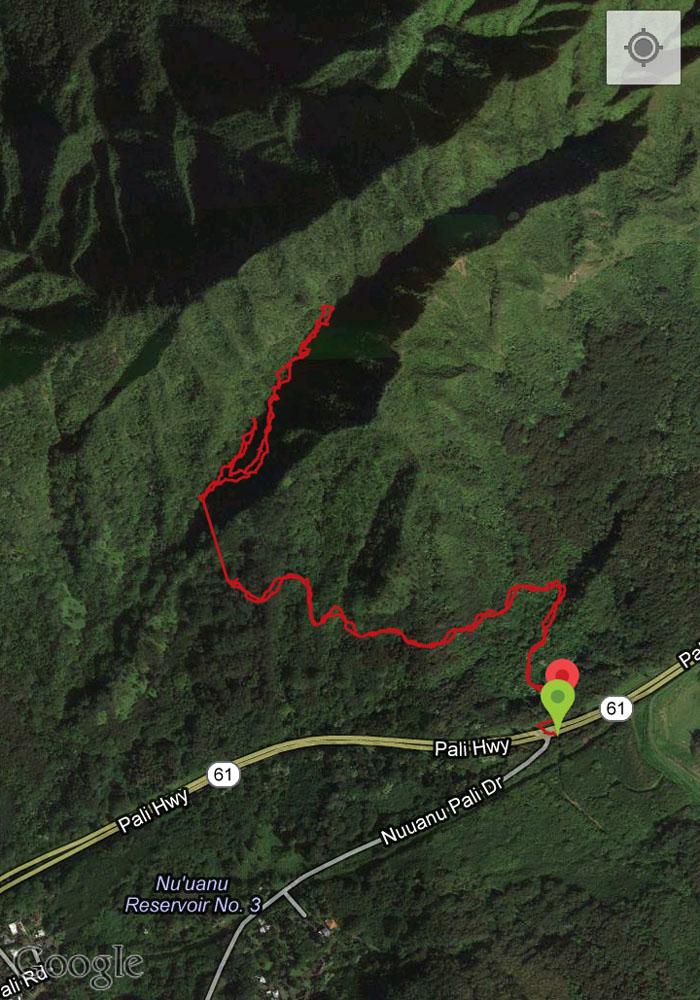 GPS tracks of Mo'ole Falls