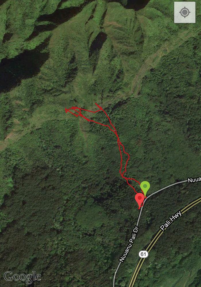 GPS tracks of Waipuhia Falls