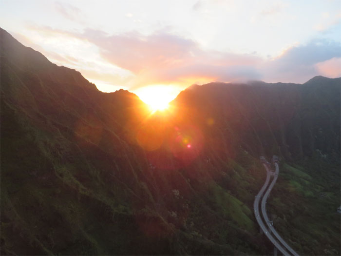 Sunset over Moanalua Saddle